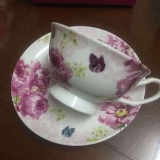 《公益換物》花朵咖啡杯盤組