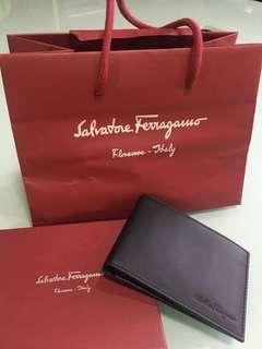 Salvatore  Ferragamo Black Calf Leather Wallet Brand New 100% Authentic