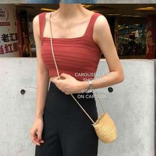 🚚 (5 Colours) Square Neck Straight Cut Cropped Tank Top