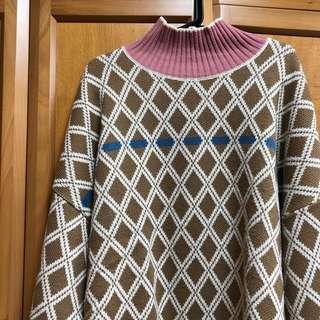 韓國品牌 寬鬆菱格紋oversize高領毛衣