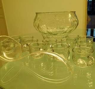 Glassware - crystal fruit punch set