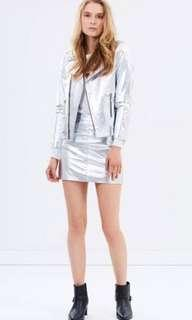 Ena Pelly leather silver jacket & Skirt