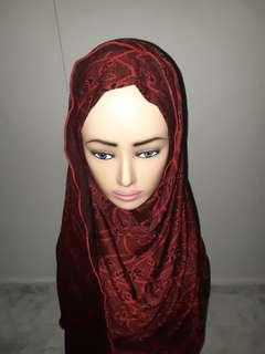 🚚 Red & Black Hijab 1 Muka
