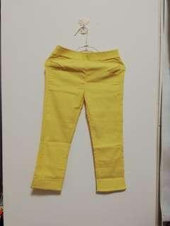 🚚 鵝黃色彈性貼褲