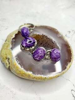 天然紫龍晶蛋面介子