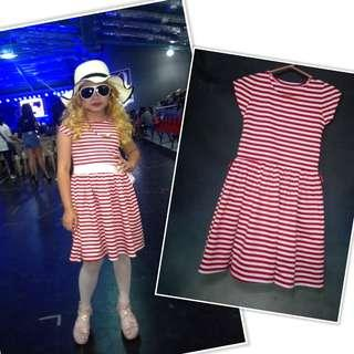 Red and Off white Stripe Dress Toddler 6-8