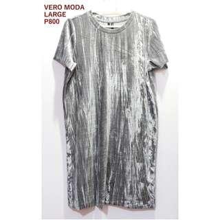 Vero Moda Gray Velvet Dress