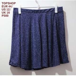 Topshop Blue Skater Skirt