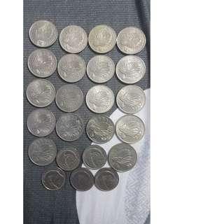 1st Series 18 x 50 Cents & 5 x 20 Cents Coins