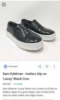 Authentic Sam Edelman LACEY Black Croc Embossed Slip On Sneakers Shoes