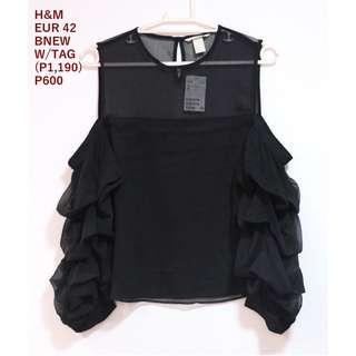 H&M Black Cold Shoulder Longsleeves Top