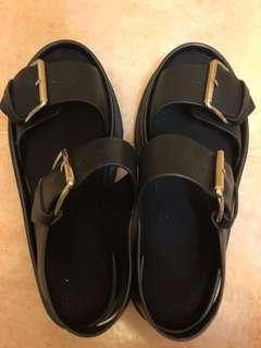 黑色鬆高鞋合24cm