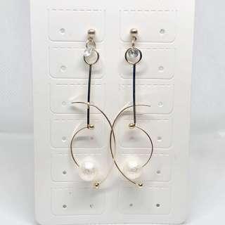 耳環💙全新斯文白珠吊飾款(06)