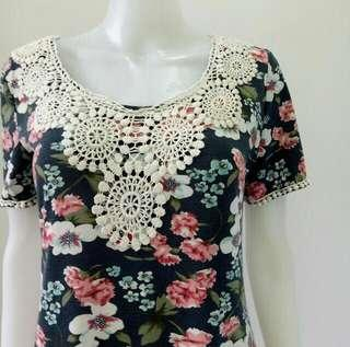 Flower embroidery on floral dress Jasmine London