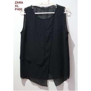 Zara Black Sheer Sleeveless Shirt