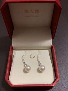 18K/750 白色黃金淡水養殖珍珠鑽石耳環