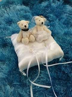 Wedding bear ring pillow (Diamond & Platinum) #STB50 wedding decoration