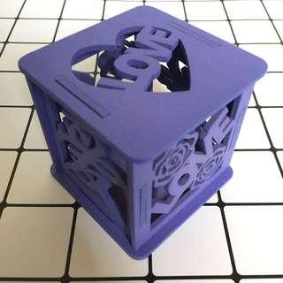 Love 紫色木收納盒