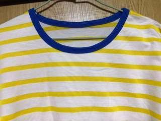 🚚 黃藍撞色可愛短袖T