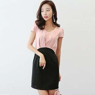 Brand new pink with black OL dress