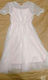 🚚 粉色蕾絲夢幻洋裝