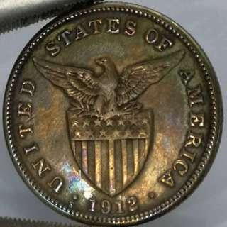 Scarce 1912s One Peso US Philippines Silver Coin Rainbow Toned / Black toned USPI
