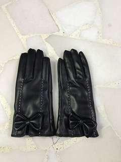 Winter Faux Leather Gloves Touchscreen Compatible