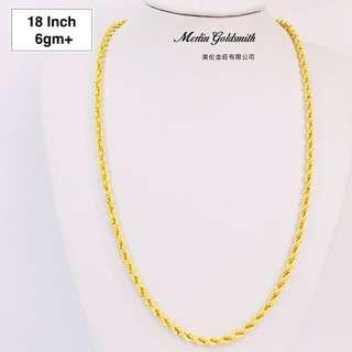 "🚚 916 Gold Hollow Rope Chain - 18"" 916 黄金空心索项链 - 18"""