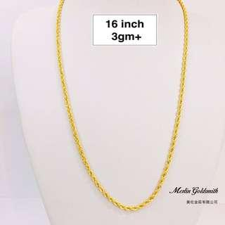"🚚 916 Gold Hollow Rope Chain - 16"" 916 黄金空心索项链 - 16 """