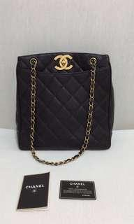100% Authentic CHANEL Vintage Quilted Jumbo CC Turn Lock Chain Shoulder Bag/ Shopper Tote, Black Caviar