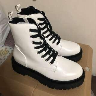 White leather lace up boots