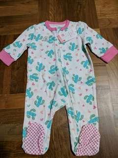 BNWT 0-3 mth long sleeve zip romper pyjamas baby girl