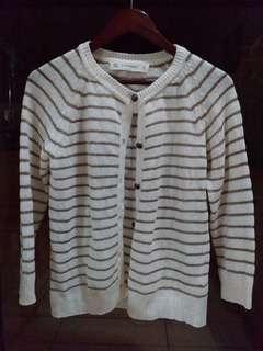 106 Zara Knit Spain Gold & White Cardigan L