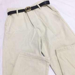 Beige Wide Leg Pants