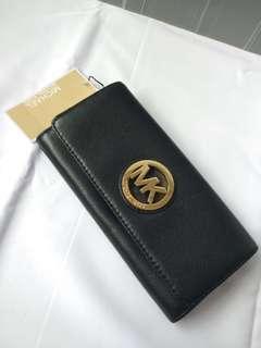 New Michael Kors MK Black GHW Wallet