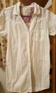 短袖長版襯衫