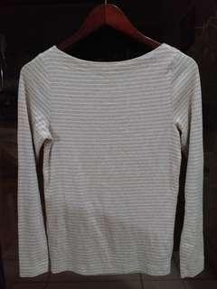 108 GAP Beige white striped collar hone top M