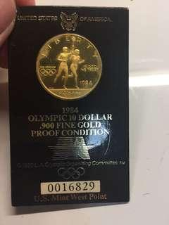 USA 1984 $10 gold proof coin in holder