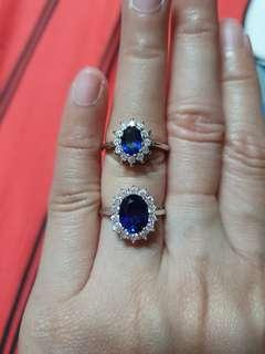Blue Sapphire Rings in Genuine Silver