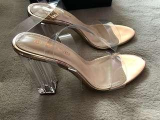 Clear block high heels (brand new)