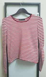 Red White Striped Crop Top Long Sleeve