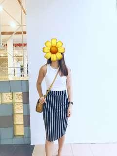 Monochrome Stripe Midi Skirt