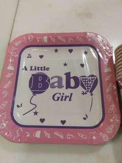 Disposable baby girl party plates and cups (10pcs)