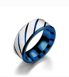 Cincin Stainless Steel model Alur ring biru
