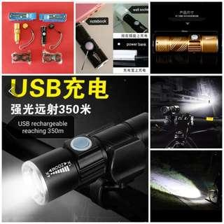 🆕Bicycle bike ☑️USB rechargeable cree LED e.scooter PMD night front white headlight torch length 930mm with diameter 24mm ☑️waterproof with swivel holder, 3 modes (strong/medium/blinking) reaching 350m. Colour; Black or Gold. BNIP脚踏车自行车可充电夜行前光二极管白灯或手电筒