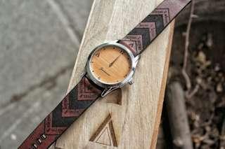 Jam Tangan Aksara Jawa J-lu brown