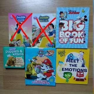 Paw patrol, disney meet the emotions, disney big book of fun,  snow white, puppies & kittens