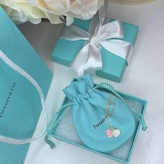 Tiffany & Co Mini double heart pendant pink