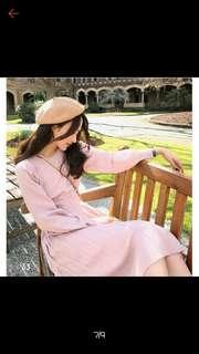 彈力針織粉色洋裝 連身裙