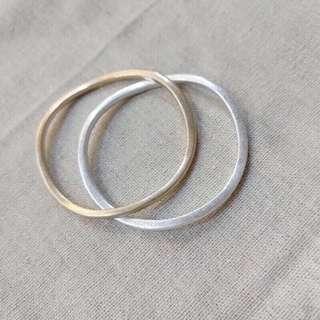🚚 不規則 仿舊手環 (金/銀)全新